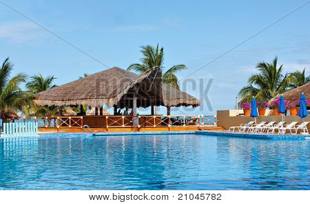 Resort pool and palapa