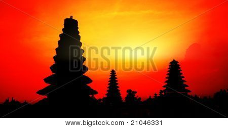 Traditional hindu buildings at sunset background. Pura Besakih. Indonesia