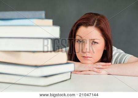 Desperate Student Looking At The Camera