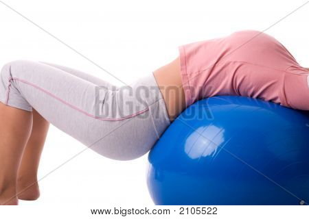 Attractive Girl Working Exercise By Pilates Ball