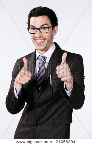 caucasian businessman with thumb up