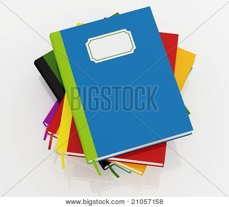 Colorful Books Stack Over White
