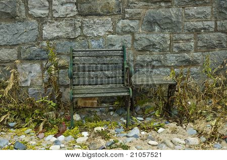 Old Chair and Bench
