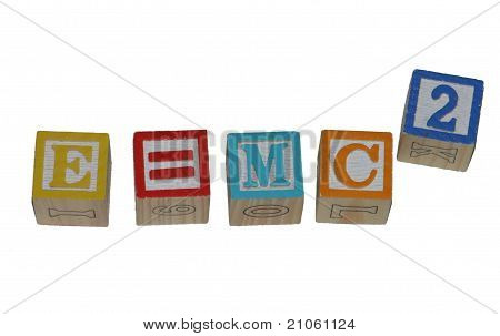 e=mc2 wooden blocks