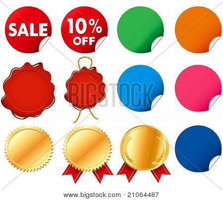 seal medal sticker wax seal labels vector