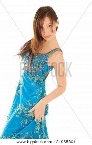 Woman In Beautiful Blue Dress