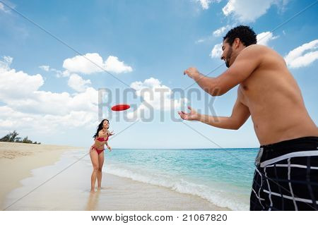 Young Happy Man And Woman Playing With