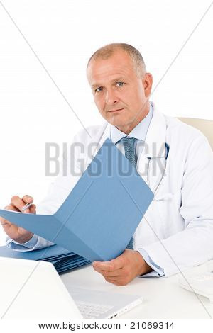 Mature Doctor Male Hold Document Professional