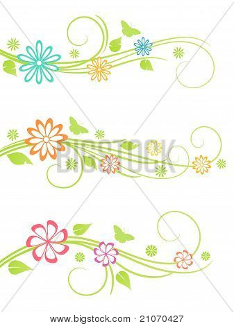 Floral design elements. Vector illustration.