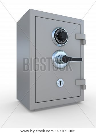 Closed Steel Bank Safe Over White