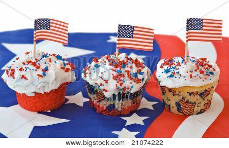 Three Patriotic Cupcakes