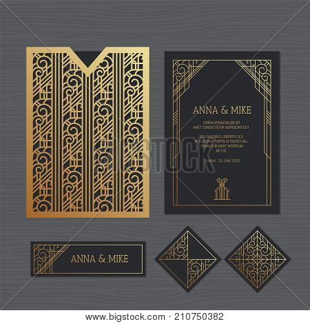 poster of Luxury Wedding Invitation Or Greeting Card With Geometric Ornament. Art Deco Style. Paper Lace Envel