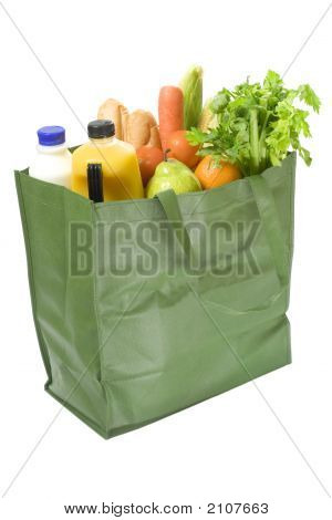Reusable Shopping Bag Full Of Groceries