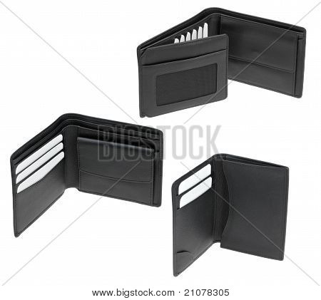 set of black leather men's wallets isolated on white