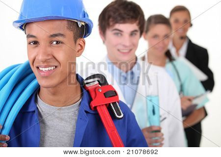 Four young people illustrating different career options
