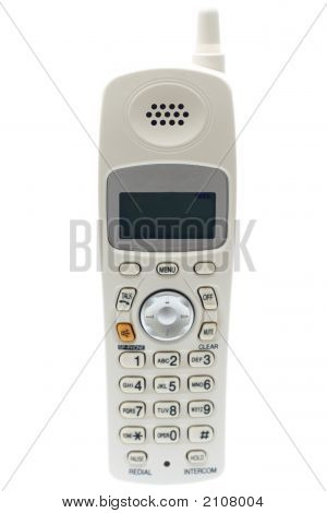 White Cordless Phone. Front View