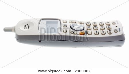 White Cordless Phone. View From Side
