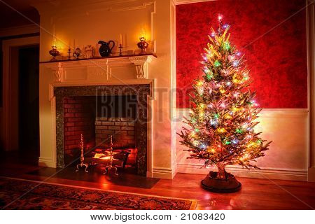 Christmas Tree With Color Lights In Traditional Interior