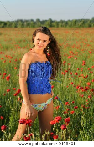 Beautifull Young Girl In Poppy Field