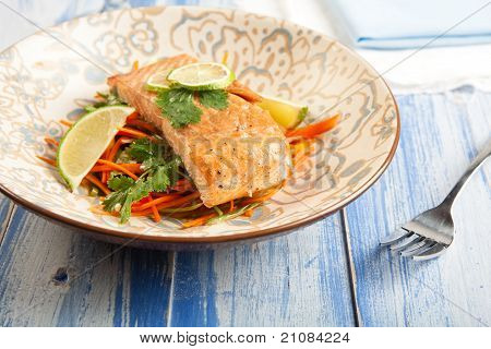 Salmon With Carrot Slaw