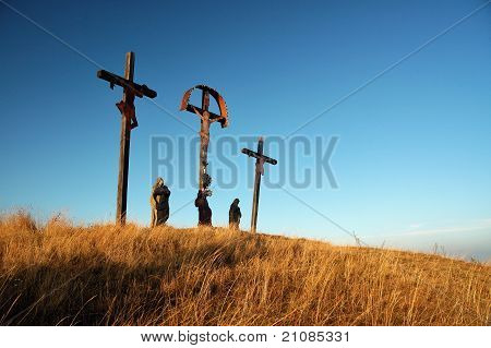three crosses on Calvary
