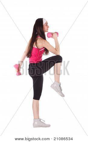 Fitness Frau mit Hantel