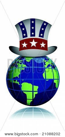 US globe hat illustration design isolated over a white background