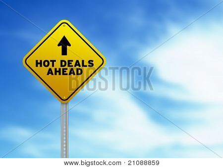 Hot Deals Ahead Road Sign