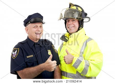 Firefighter and police officer giving thumbs up sign.  Isolated on white.