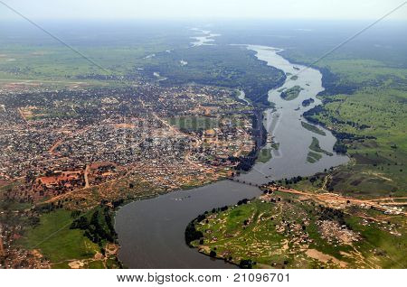 Aerial of Juba, the capital of South Sudan, with river Nile on the right