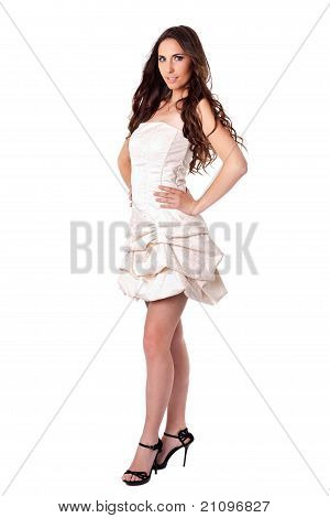 Beautiful Fashionable Woman In Dress