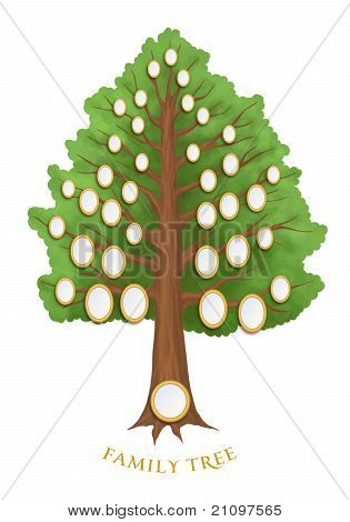 Family Tree With Empty Oval Frames