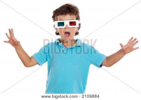 Child Whit 3D Glasses