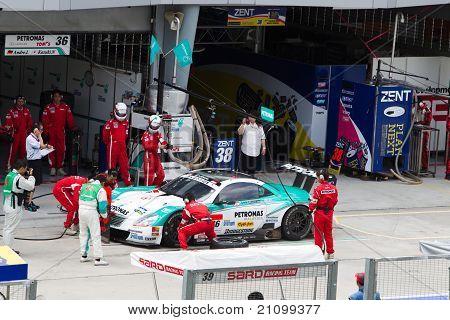 Lexus team petronas pits at the Malaysian SuperGT race