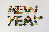 Many Different Buttons. Buttons For Clothes Made Of Plastic. View From Above. poster