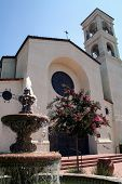 picture of crepe myrtle  - A Spanish mission style Catholic church with bell tower rose window fountain and crepe myrtle tree - JPG
