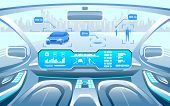 Autonomous Smart Car Interior. Car Self Driving In The City On The Highway. Display Shows Informatio poster