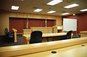 picture of courtroom  - Empty California courtroom with modern sparse furnishings - JPG