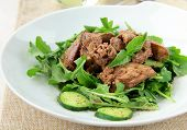 foto of giblets  - salad appetizer with chicken liver - JPG