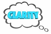 Clarity Consise to the Point Communication Thought Cloud Word 3d Illustration poster