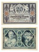 stock photo of horn plenty  - Ancient German currency notes issued by Empire Bank in 1915 - JPG