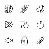 Thin Line Fitness Nutrition, Low-calorie Food Icons Set On White poster