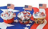 Three Patriotic Cupcakes