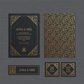 Luxury Wedding Invitation Or Greeting Card With Geometric Ornament. Art Deco Style. Paper Lace Envel poster