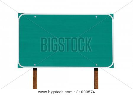 Big blank green highway sign isolated on white.