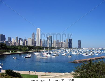 Chicago Skyline And Harbor