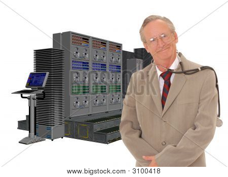 Senior Doctor And Large Computer