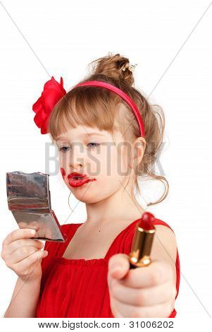 Little funny girl with red lipstick