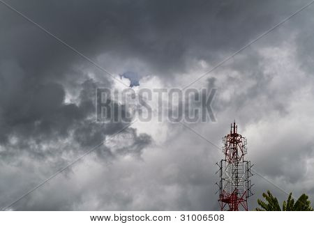 Radio Tower And Dark Cloud