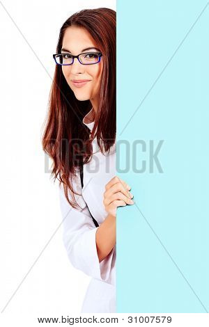 Portrait of a beautiful woman doctor with white billboard. Isolated over white background.